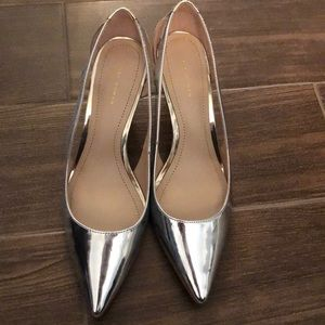 Silver Zara pointed heels with open sides size 40